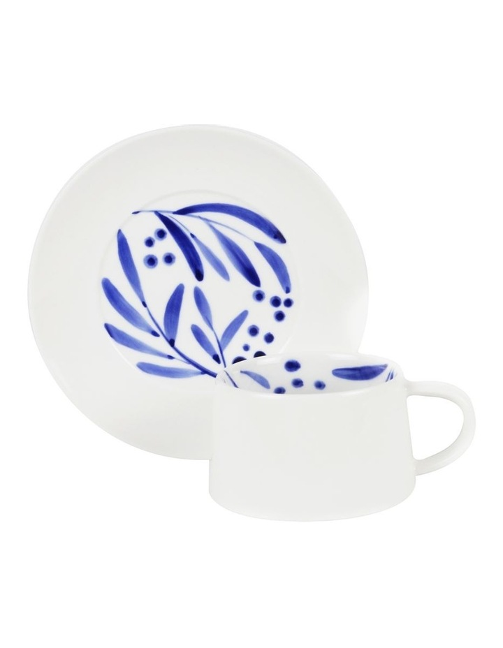Bone China Wattle Cup & Saucer - Blue Hand Brushed image 1