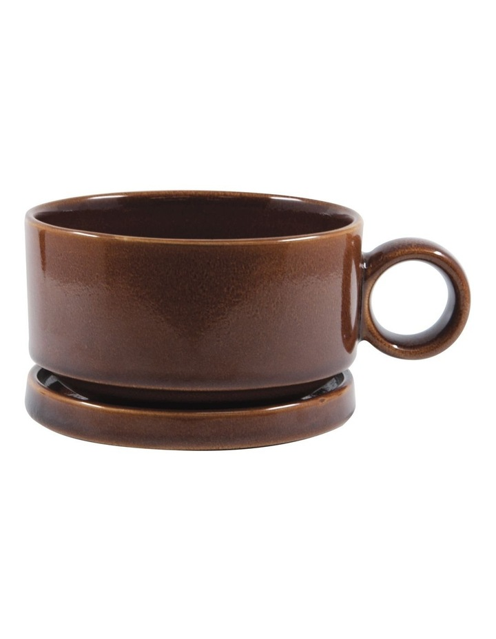NAOKO Soup Mug 550ml with Saucer 12.5cm - Amber image 1
