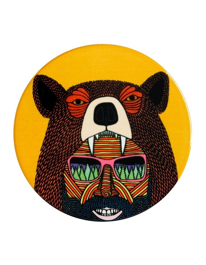 Mulga the Artist Ceramic Round Coaster 10.5cm Bear Man image 1