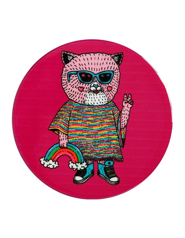 Mulga the Artist Ceramic Round Coaster 10.5cm Cat image 1