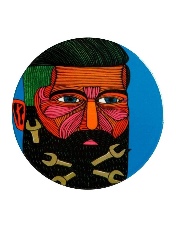 Mulga the Artist Ceramic Round Coaster 10.5cm Spanner Man image 1