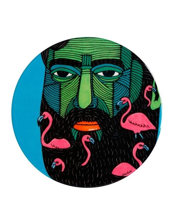Mulga the Artist Ceramic Round Coaster 10.5m Flamingo Man image 1
