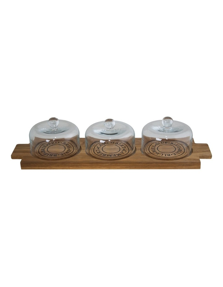 Fromage Rectangular 46x14cm Wooden Board with 3 Glass Domes image 1