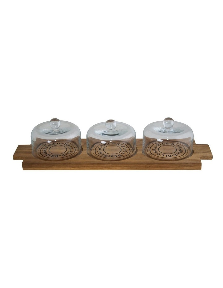 Fromage Board With 3 Glass Domes - 46X14Cm image 1