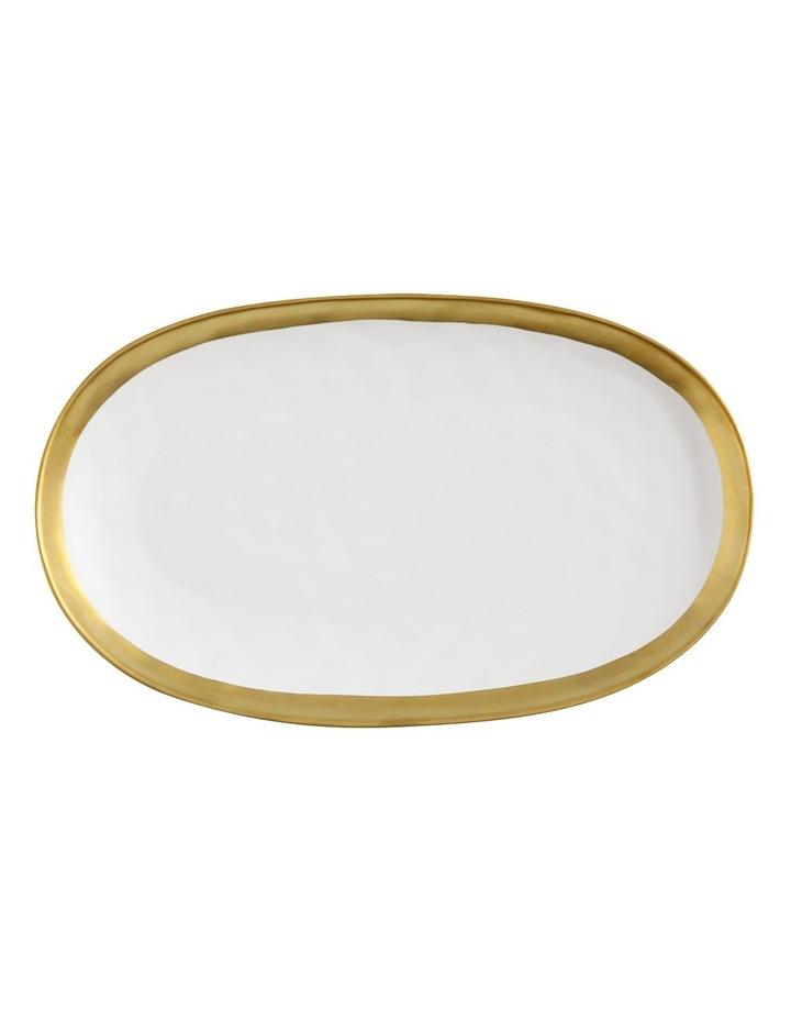 Swank Oblong Platter  Gift Boxed  36x22cm - White & Gold image 1