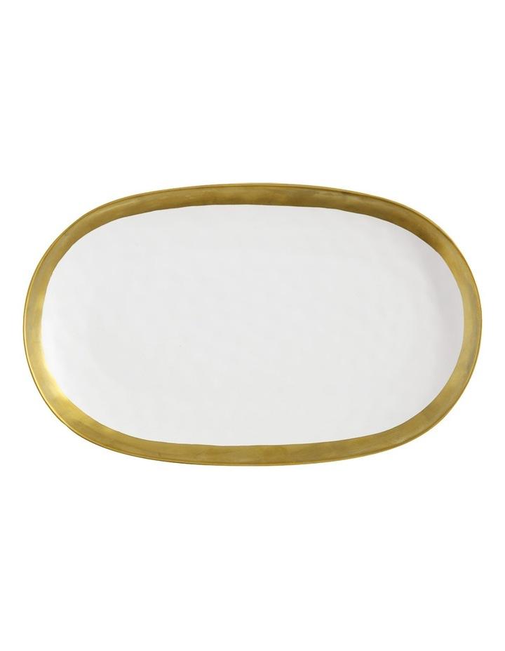 Swank Oblong Platter, Gift Boxed, 41x25cm - White & Gold image 1