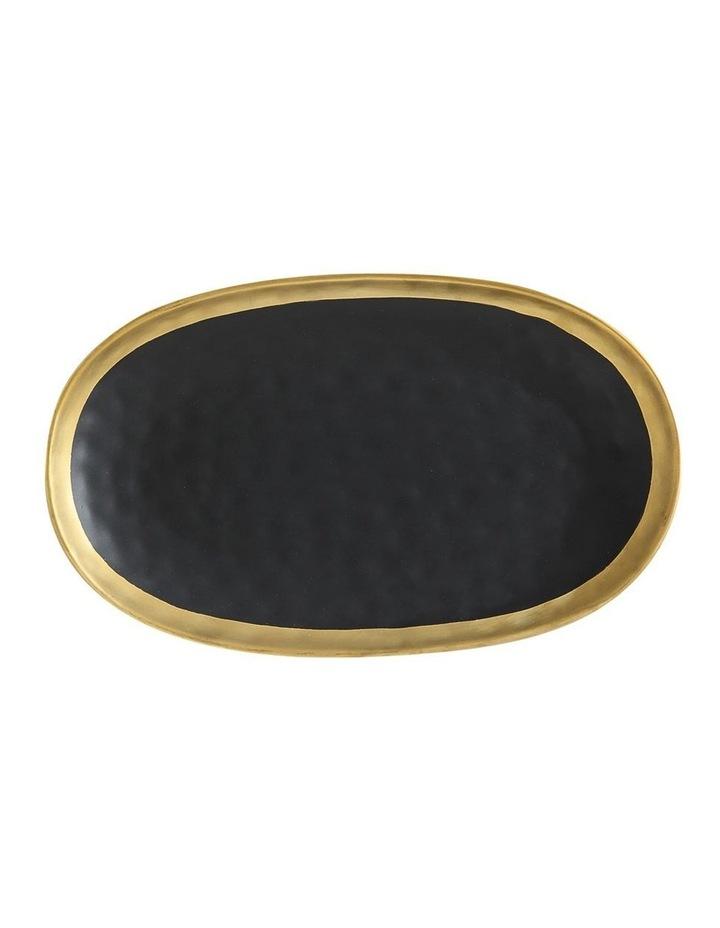Swank Oblong Platter Gift Boxed 36x2cm - Black & Gold image 1