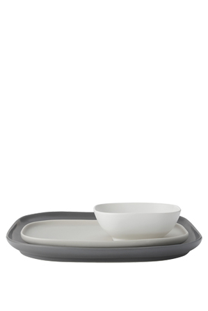 Maxwell & Williams - Elemental Square Platter And Bowl with Rectangular Platter Set Gift Boxed