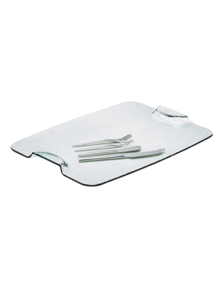 Cheese Glass Platter 40X30cm W/Cheese Knives image 1