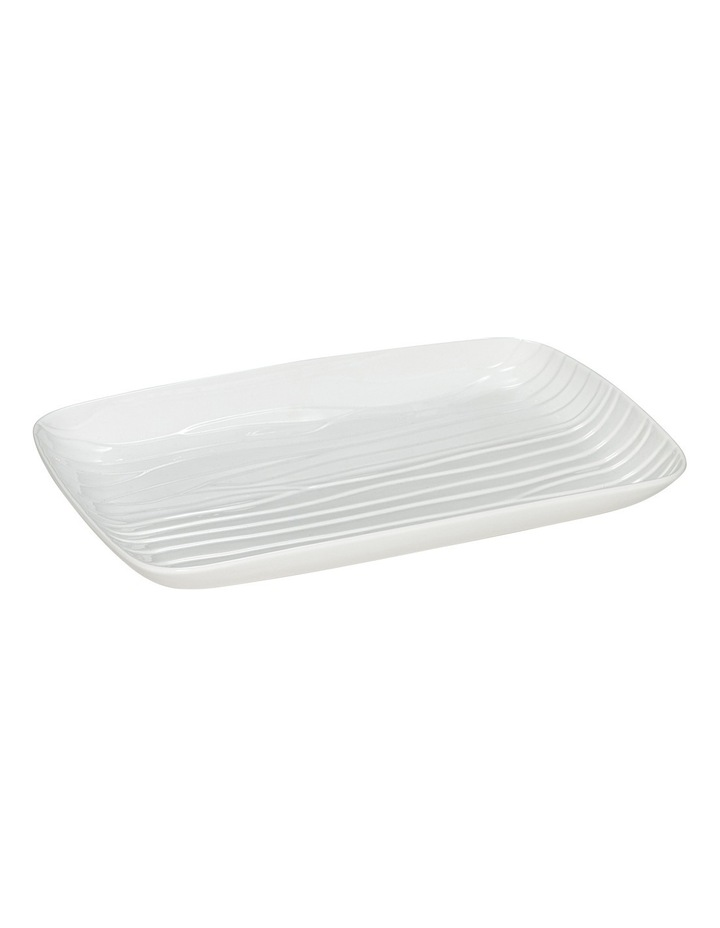 Groove Large Rectangle Platter  45x30cm - White image 1