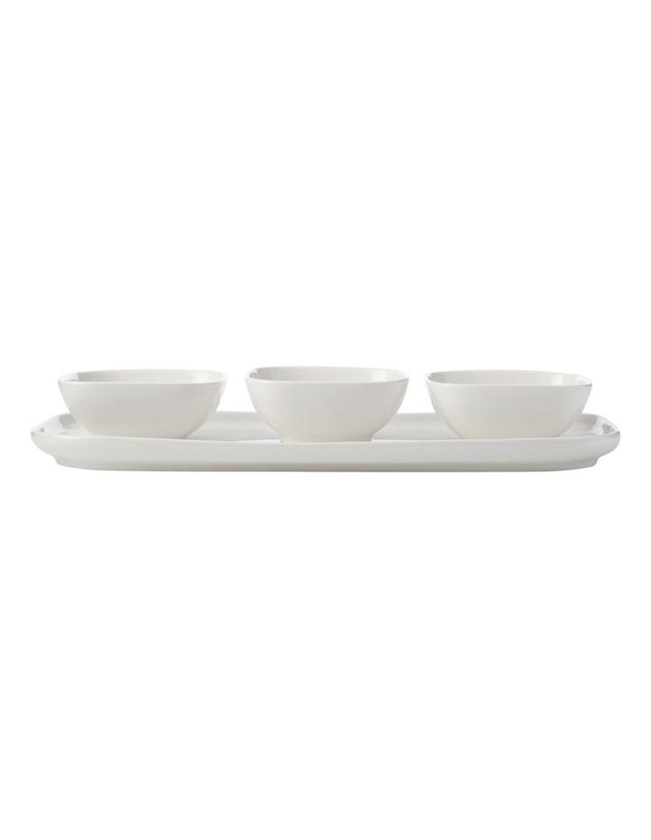 White Basics Rectangle Platter And 3 Square Bowl Set Gift Boxed image 1