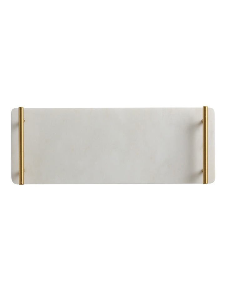 Mezze Marble Tray  Gift Boxed  40x15cm - Gold Handle image 1