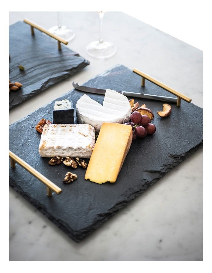 Mezze Slate Tray with Gold Handle Gift Boxed 40x30cm image 2
