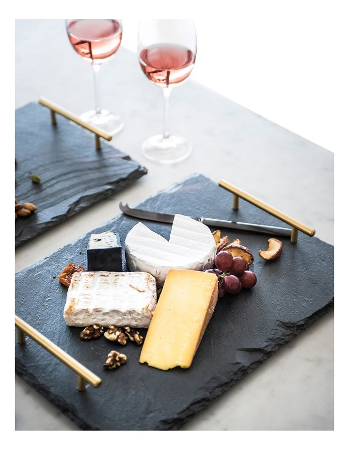 Mezze Slate Tray with Gold Handle Gift Boxed 36x26cm image 2