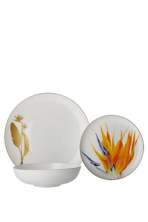 Maxwell & Williams - Royal Botanic Garden Botanica Floris Place Setting 3pc Strelitzia Orange Gift Boxed