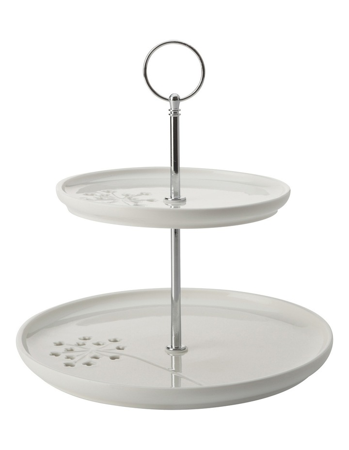 Seed & Leaf 2 Tiered Cake Stand Gift Boxed image 1