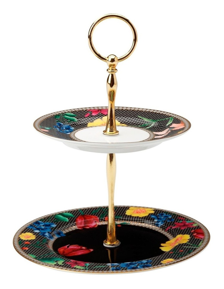 Teas & C's Contessa 2 Tiered Cake Stand Black Gift Boxed image 1