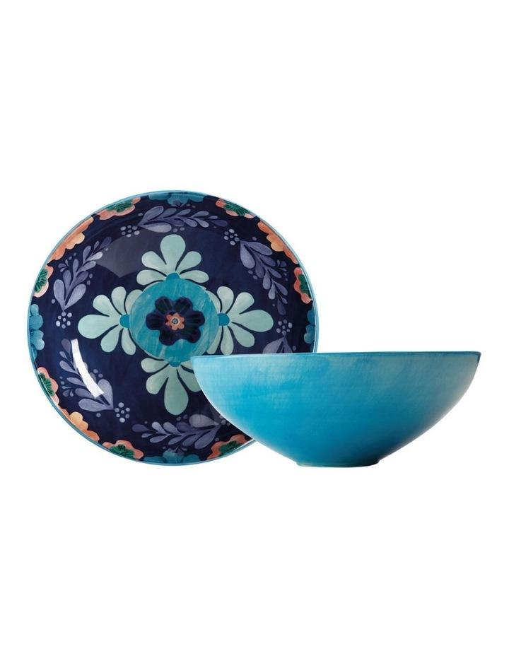 Majolica Round Bowl 31cm Blue Gift Boxed image 1