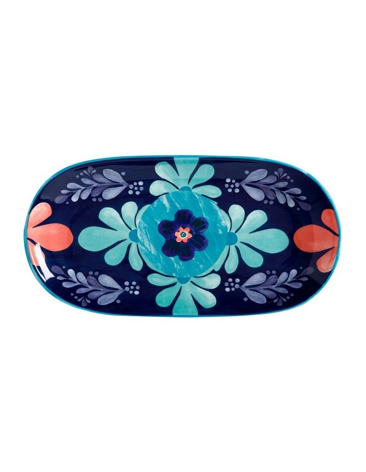 Majolica Oblong Platter 33x17cm Blue Gift Boxed image 1