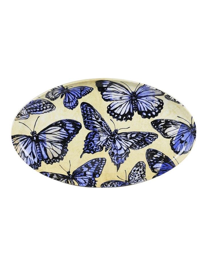 Bromley Oval Platter - Blue Butterflies image 1
