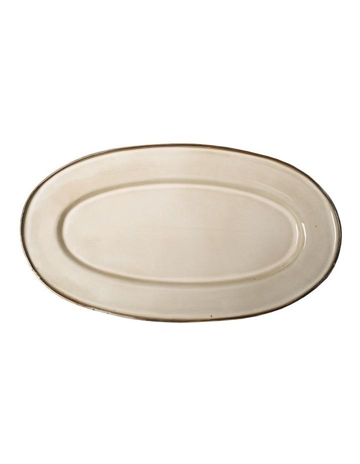 Flat Rim Reactive Large Serving Platter - Taupe image 1