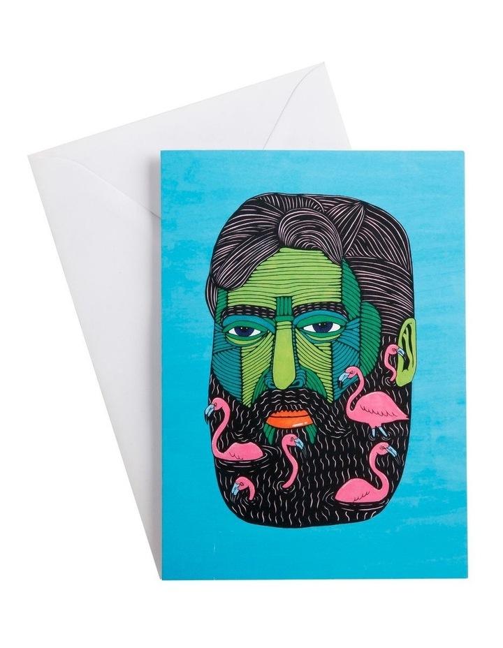 Mulga the Artist Greeting Card Flamingo Man image 1