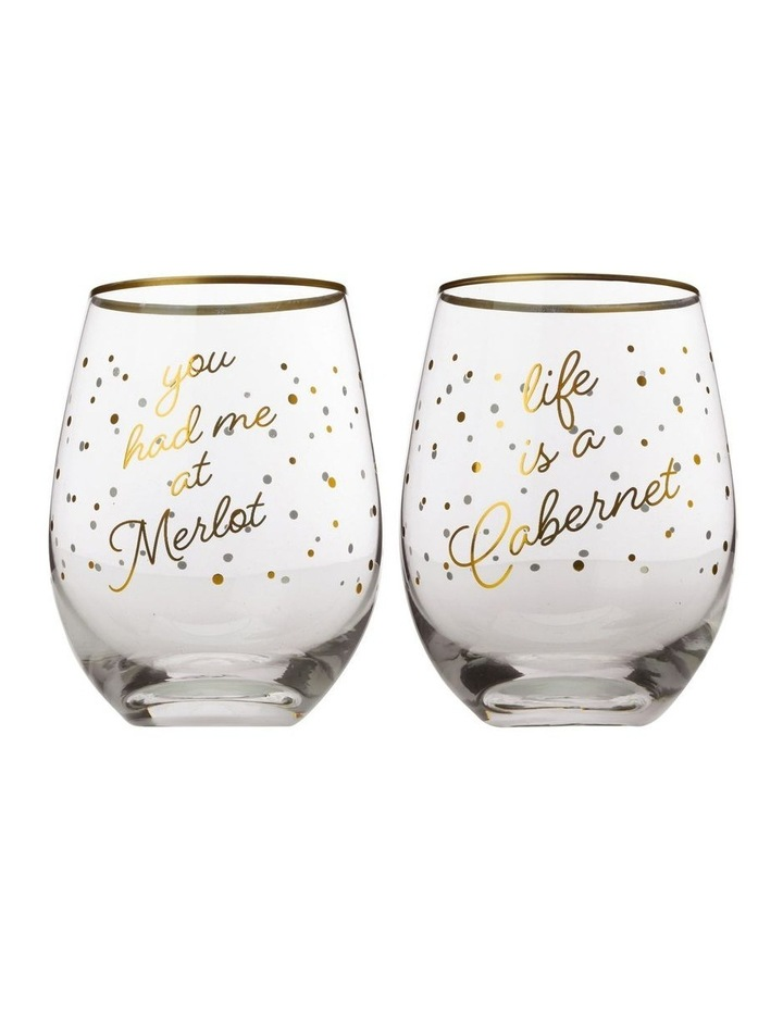 Celebrations Stemless Glass 500ML Set of 2 Cabernet Gift Boxed image 1