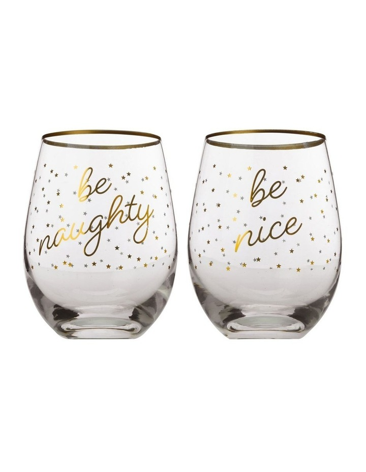 Celebrations Stemless Glass 500ML Set of 2 Naughty Gift Boxed image 1