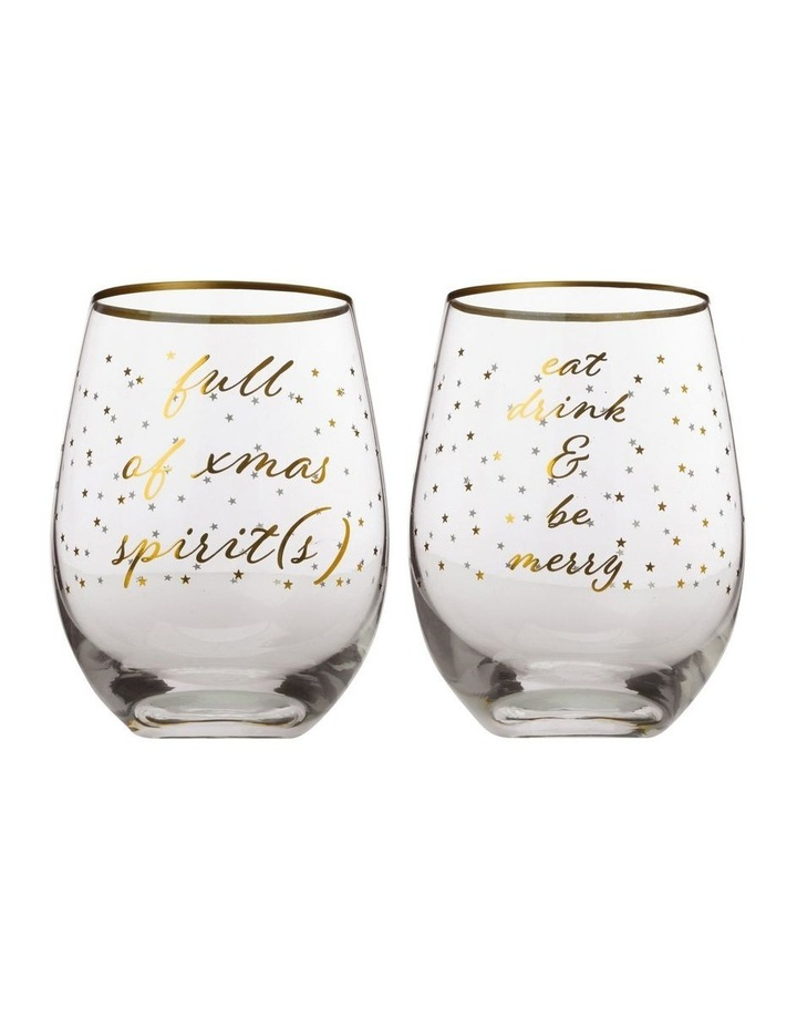 Celebrations Stemless Glass 500ML Set of 2 Spirits Gift Boxed image 1