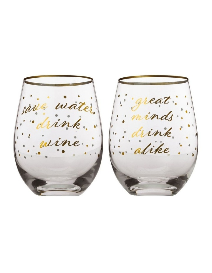 Celebrations Stemless Glass 500ML Set of 2 Water Gift Boxed image 1
