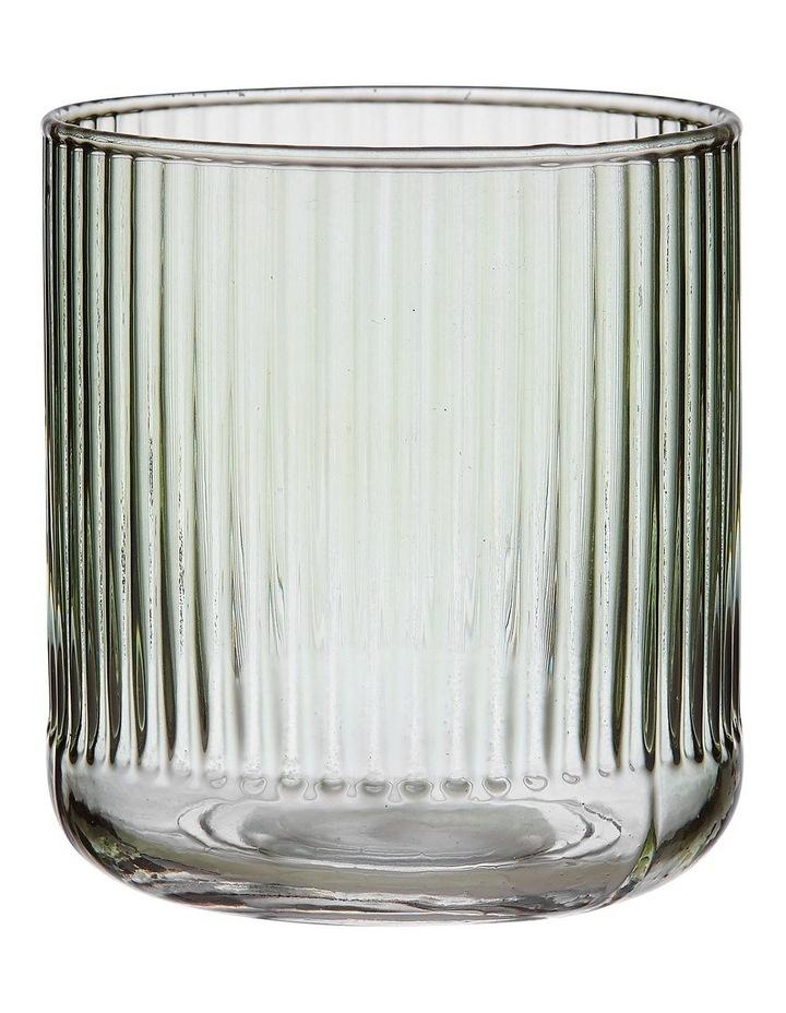 Zephyr Ribbed Green Glass Tumbler image 1