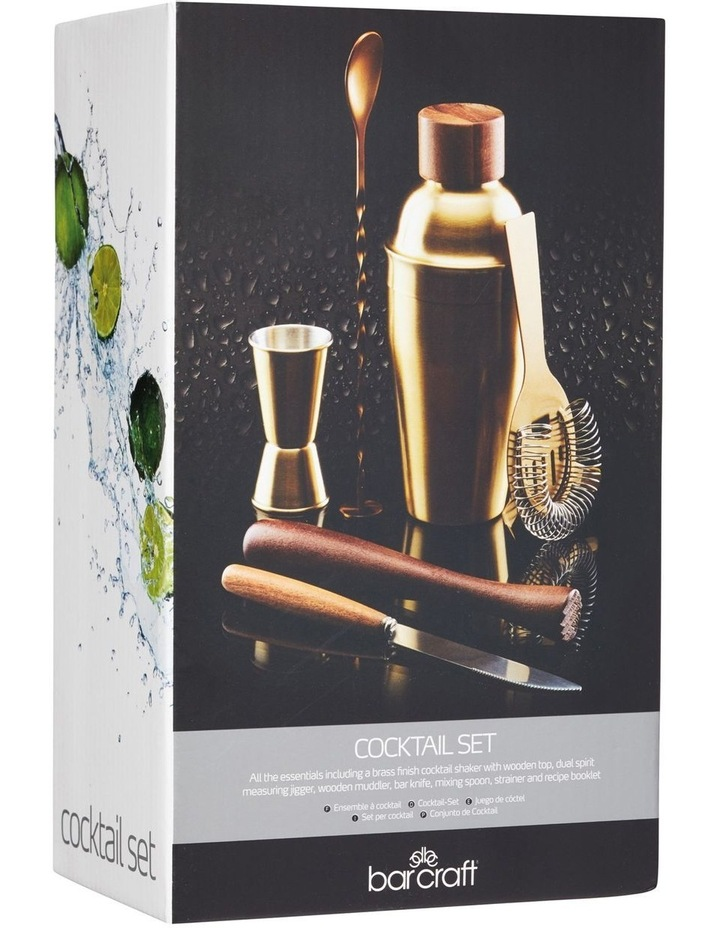 Cocktail Set 6pc Brass Gift Boxed image 2