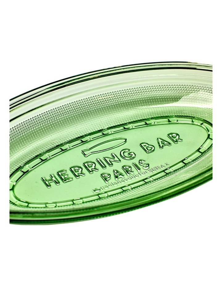 Fish & Fish Collection - Glass Oval Dish - Deep - Transparent Green image 3