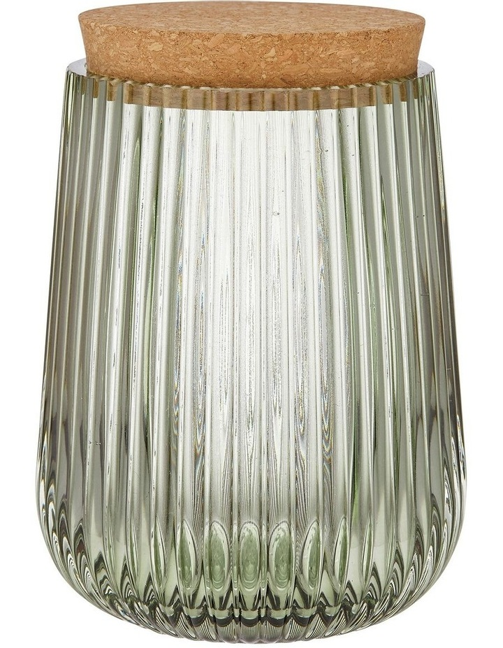 Zephyr Ribbed Green Glass 15cm Canister image 1
