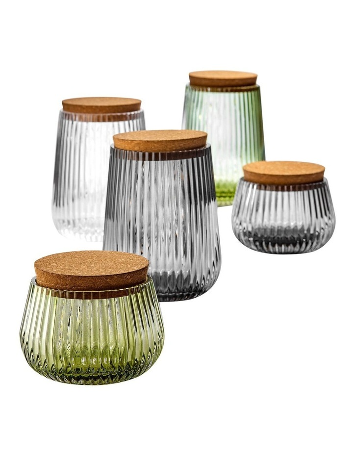 Zephyr Ribbed Green Glass 8cm Canister image 2