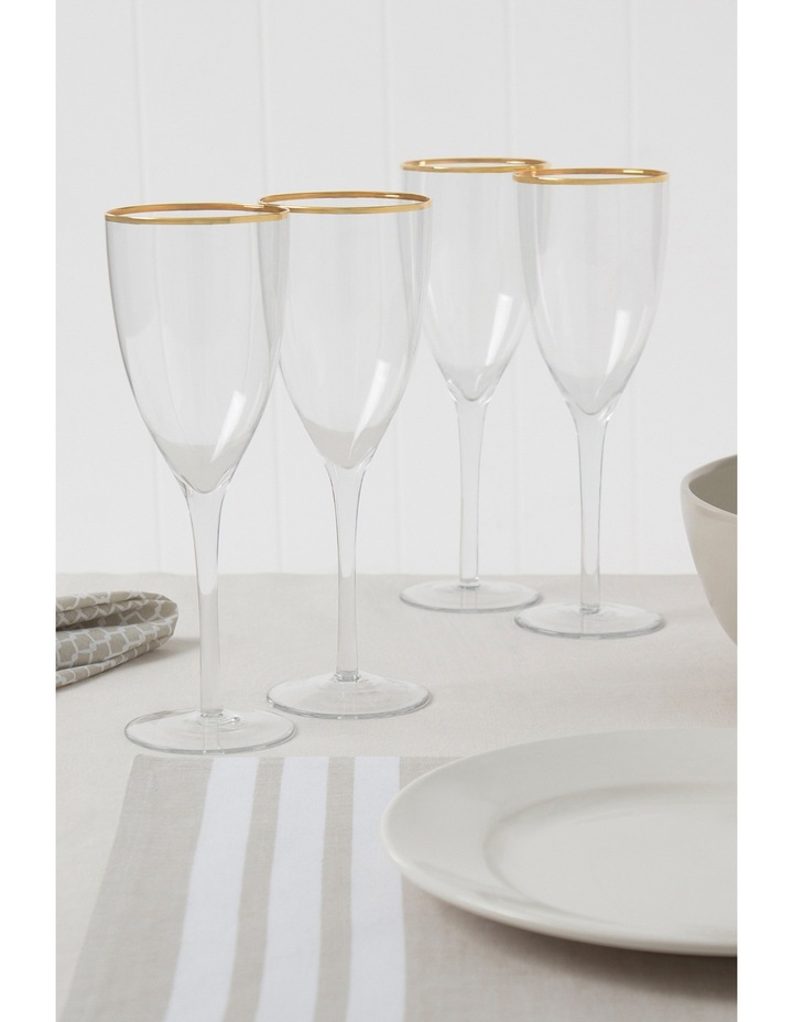 Gold Rim Wine Glass  Set of 4 image 3