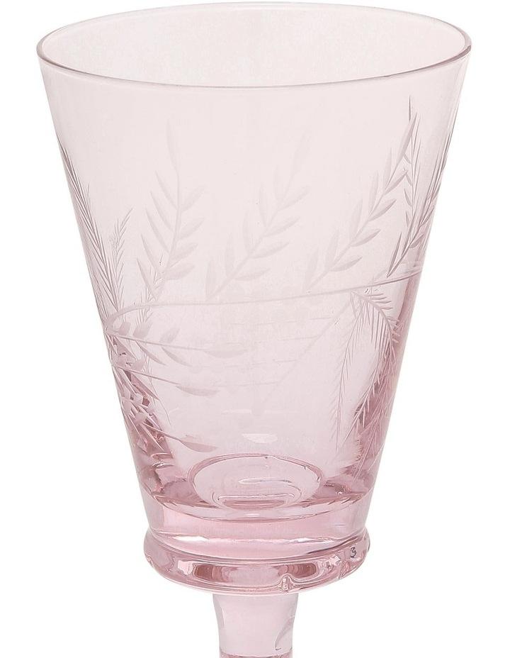 Etched Tinted Pink Wine Goblet set of 4 image 2