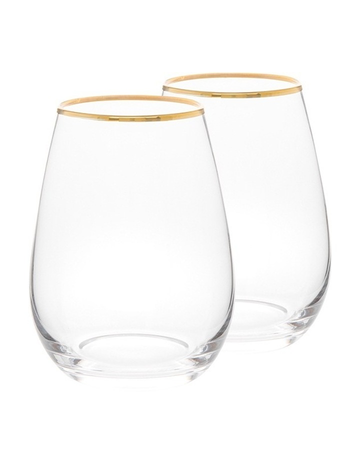 Gold Rim Stemless Wine Glass  Set of 4 image 1