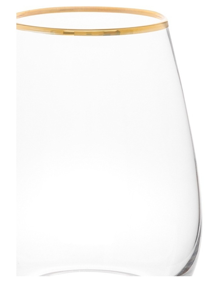 Gold Rim Stemless Wine Glass  Set of 4 image 2