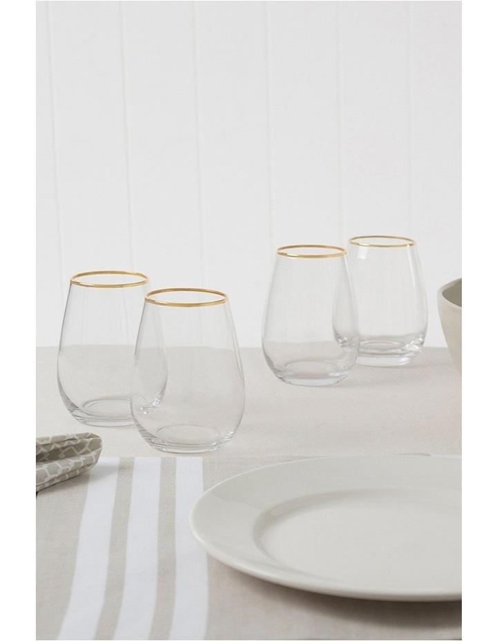 Gold Rim Stemless Wine Glass  Set of 4 image 3