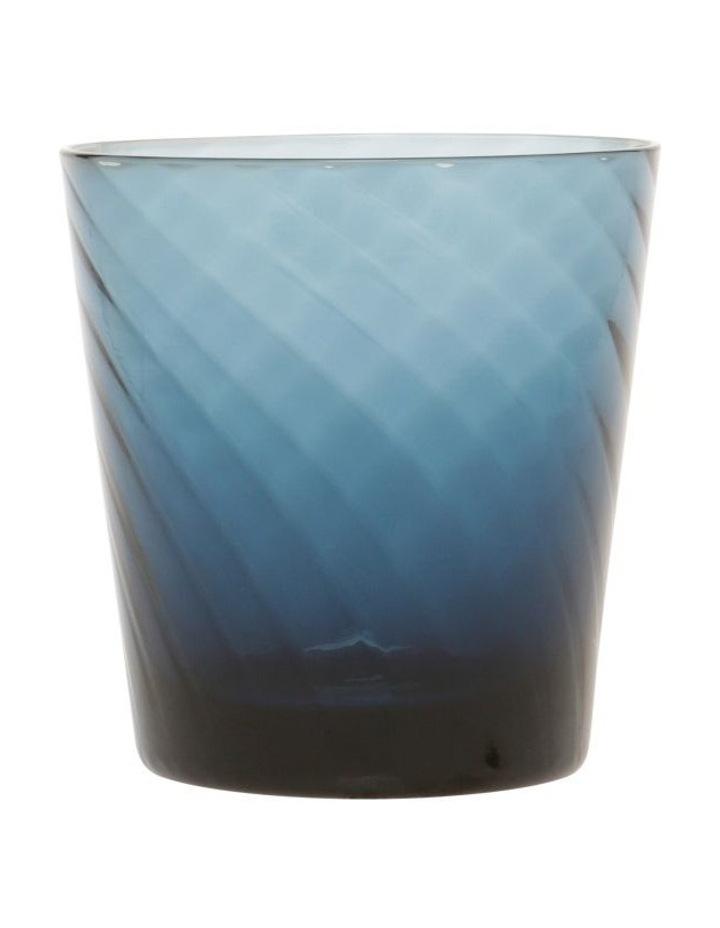 Striata Blue Ribbed Glass Tumbler Set of 4 image 1