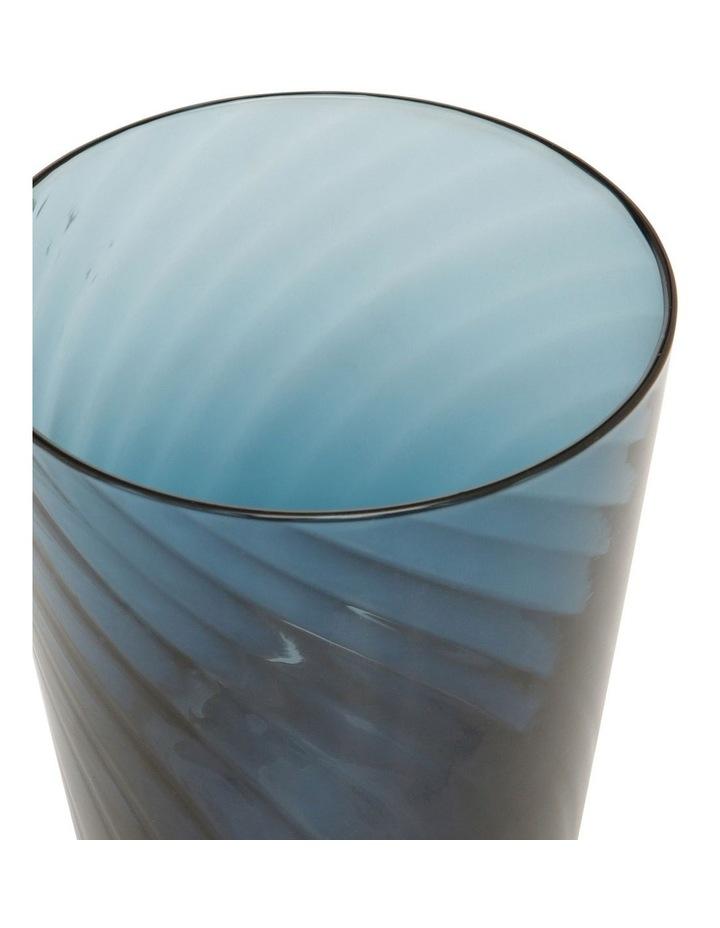Striata Blue Ribbed Glass Tumbler Set of 4 image 2