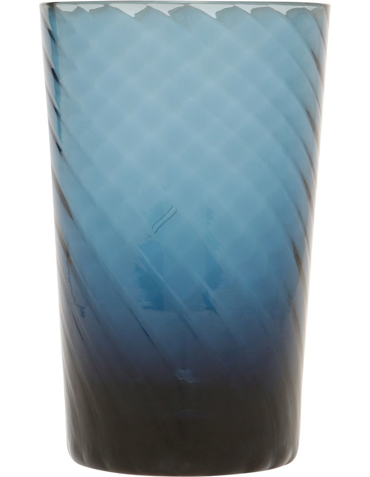 Striata Blue Ribbed Glass Hiball Set of 4 image 1