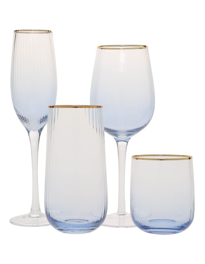 Blue Ribbed Champagne Flute Set of 4 image 3