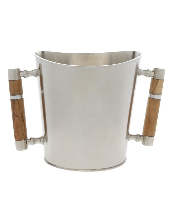 Matt Silver & Wood Wine Cooler image 1