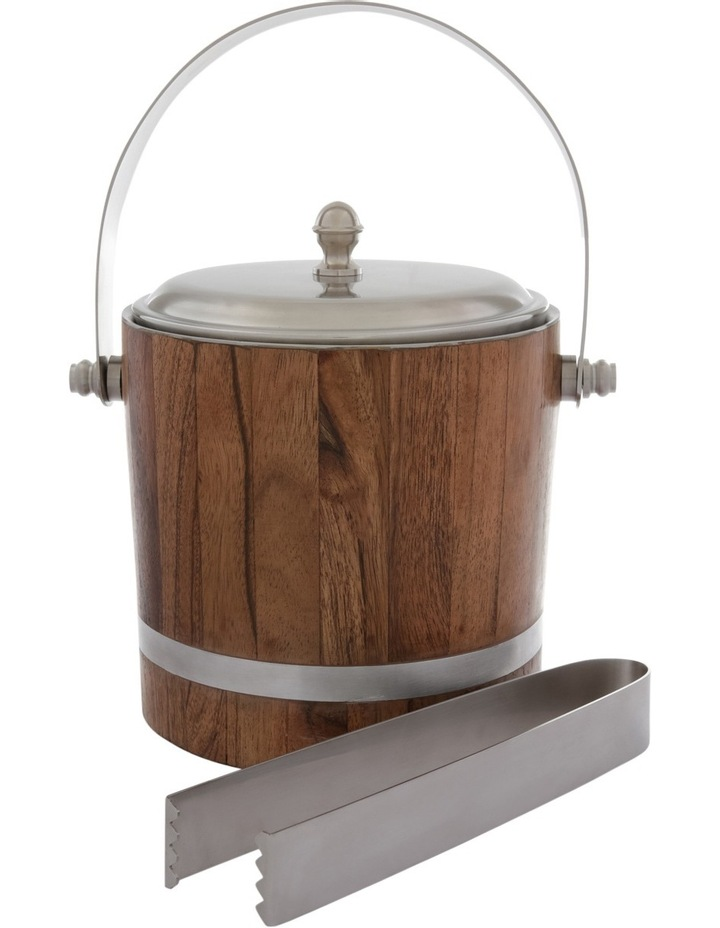 Matt Silver & Wood Ice Bucket with Tong image 1