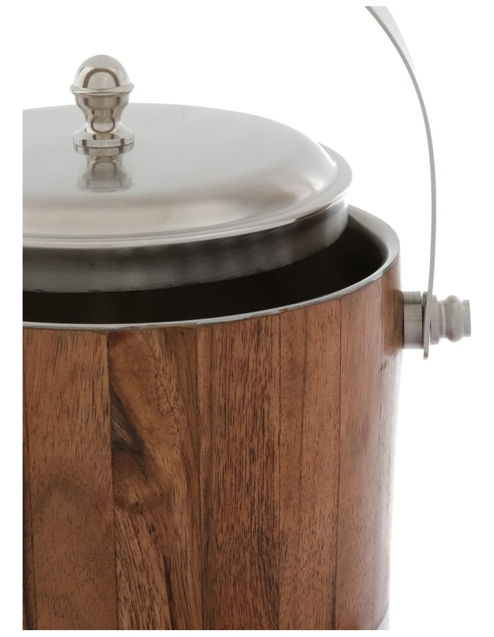 Matt Silver & Wood Ice Bucket with Tong image 2