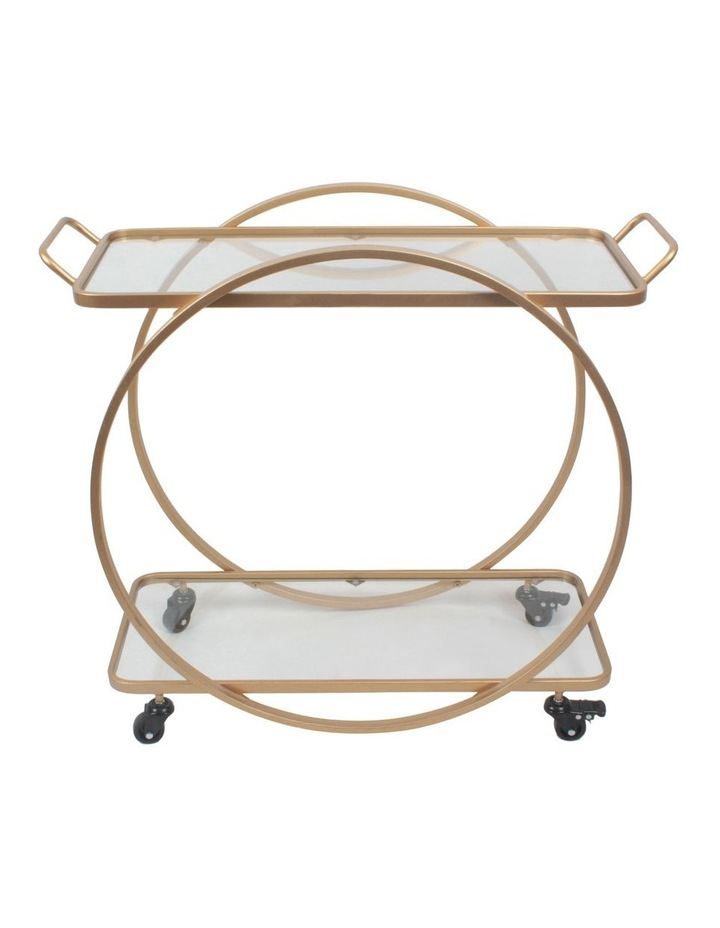 Terrace Round Bar Cart Glass Tiers In Gold image 1