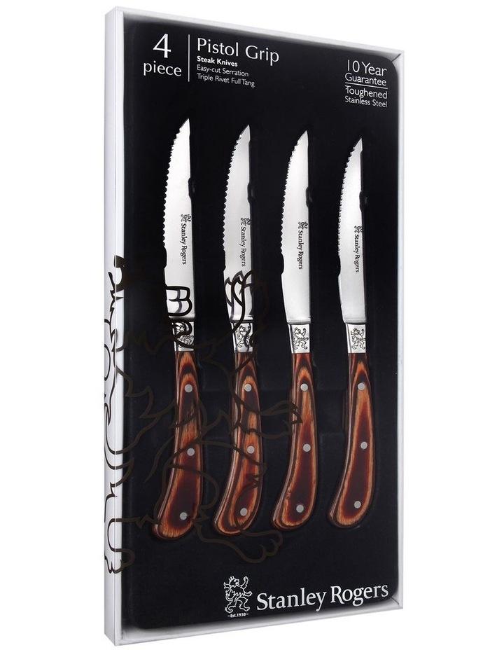 Pistol Grip Woodland Steak Knives 4 Piece Set image 4