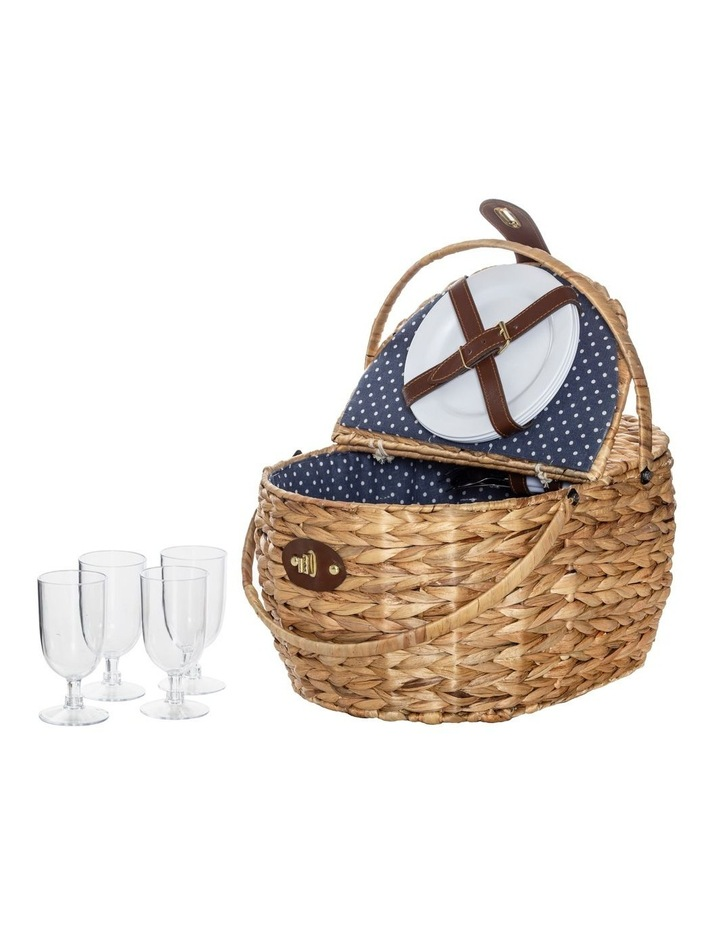 Bulrush Picnic Basket for 4 with 2 Folding Separate Lids image 1